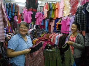 Buying skirts for our Bamboo School sponsored daughters