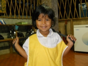 Dok Mai, which means beautiful flower, is ready for school