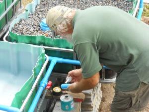 Working on the plumbing.