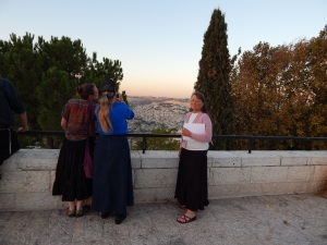 "Getting ready to video ""The Shepherd's Story"" on the Promenade.  Shirley with Shir'el, Elaine and Honor."