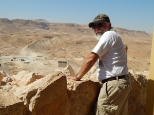 Steve looks out over the wall of Masada.