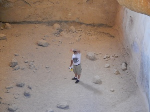 Steve at the bottom of a huge water cistern on the south end of the Masada Plateau.