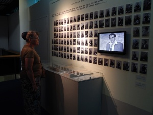 Shirley watching footage of the Adolf Eichmann trial.