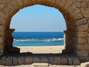 Arches of the ancient Roman Road at Caesarea.