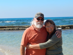 Steve and Shirley at the Mediterranean Sea, Caesarea.