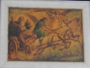 A painting of Elijah going to heaven in the fiery chariot.  The Carmelite Monastery, Mt. Carmel.